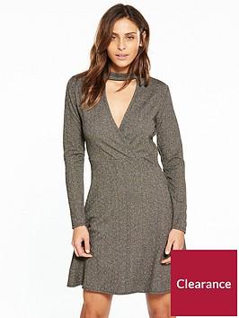 v-by-very-choker-metallic-dress