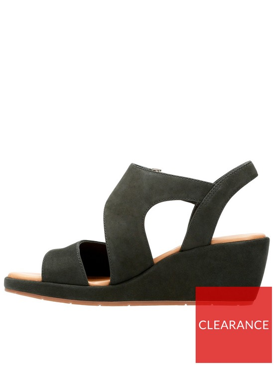 23f35f688 ... Clarks Un Plaza Sling Asymmetric Wedge Sandal - Black. View larger