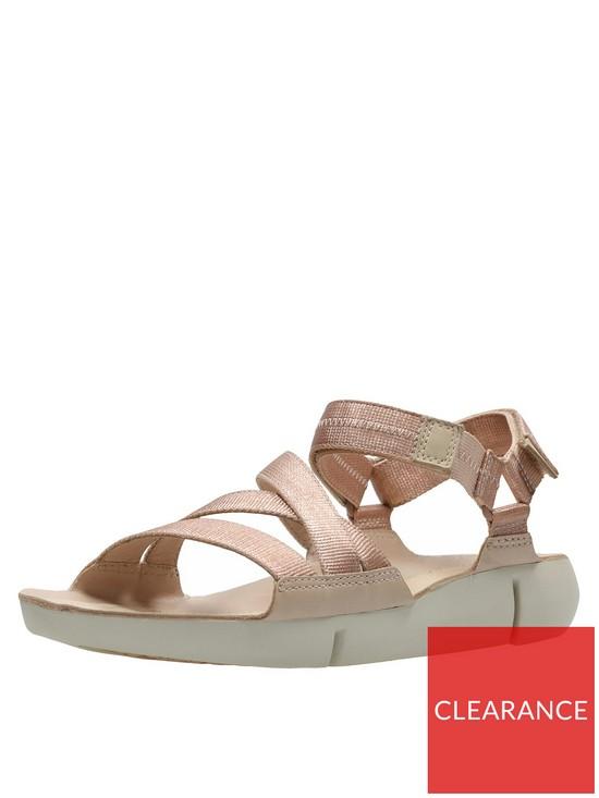 849fe06ffa523 Clarks Tri Sienna Luxury Velcro Strap Flat Sandal - Rose Gold