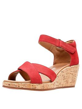 clarks-un-plaza-cross-strap-wedge-sandal-red