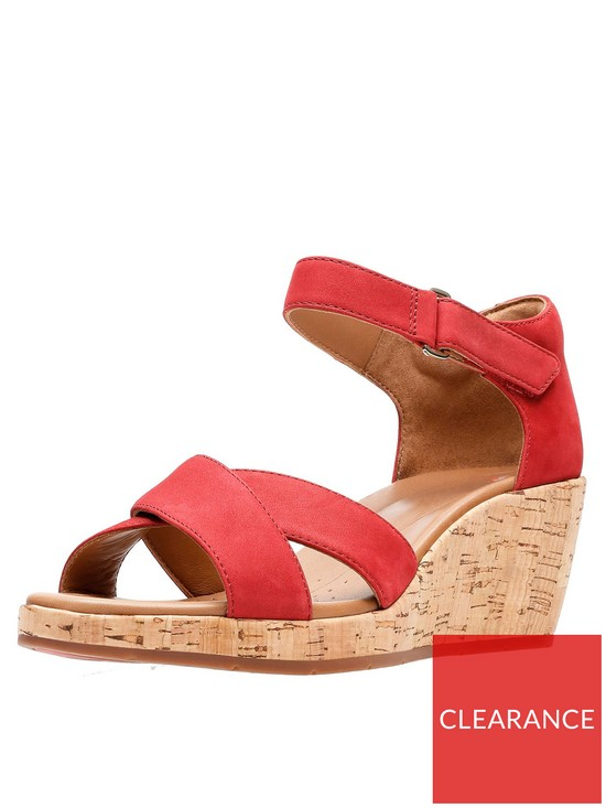 37e406feda66 Clarks Un Plaza Cross Strap Wedge Sandal - Red