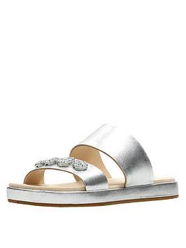 Clarks Botanic Lily Jewel Slide Sandal - Silver Metallic