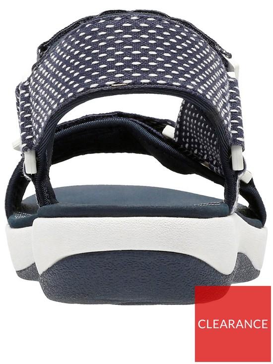 3ef2d69a8ea682 ... Clarks Brizo Cady Velcro Strap Flat Sandal - Navy White. View larger