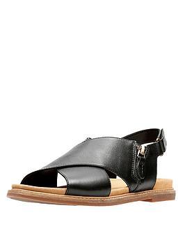 Clarks Corsio Calm Thick Strap Flat Sandal - Black