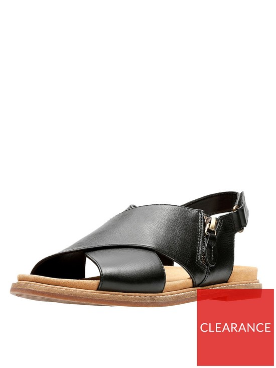 0b5a52ea004 Clarks Corsio Calm Thick Strap Flat Sandal - Black