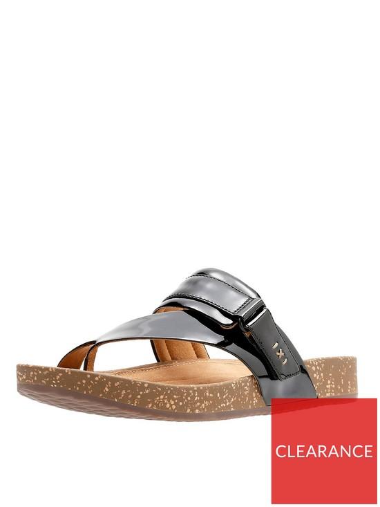 5885678185a Clarks Rosilla Durham Flat Toe Post Sandal - Black Patent