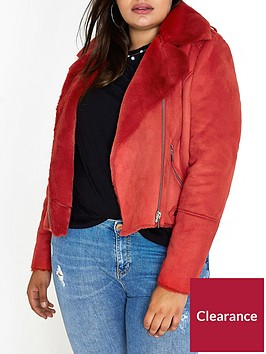 ri-plus-faux-shearling-biker-jacket--red