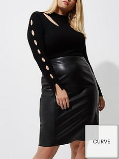 ri-plus-pu-pencil-skirt--black