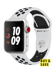 Apple Watch Nike+ Series 3 (GPS + Cellular) 38mm Silver Aluminium Case with Pure Platinum/Black Sport Band