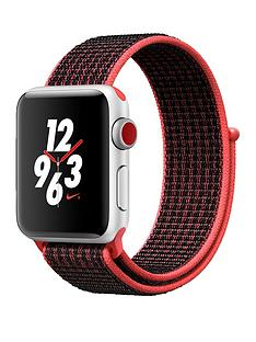 Apple Watch Nike+ Series 3 (GPS + Cellular), 38mm Silver Aluminium Case with Bright Crimson/Black Sport Loop