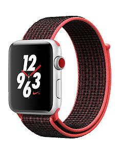 Apple Watch Nike+ Series 3 (GPS + Cellular), 42mm Silver Aluminium Case with Bright Crimson/Black Sport Loop