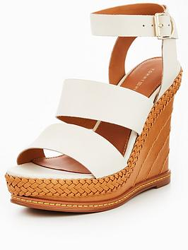 Tommy Jeans Elevated Leather Wedge Sandal - Whisper White thumbnail