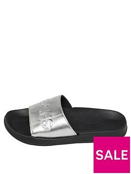 tommy-jeans-metallic-pool-slide-silver