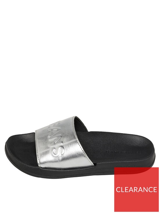 2b0bd6633 Tommy Jeans Metallic Pool Slide - Silver