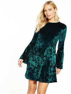 v-by-very-fluted-sleeve-velvet-swing-dress