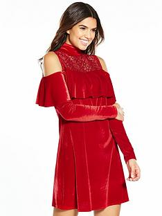 v-by-very-cold-shouler-lace-velvet-dress