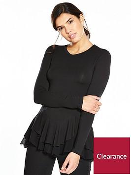 v-by-very-long-sleeve-chiffon-peplum-top-black