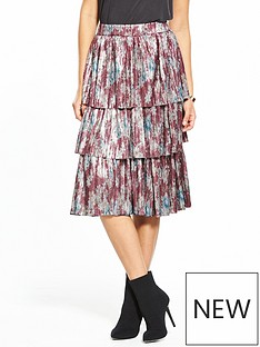 v-by-very-floral-print-pleated-tier-skirt