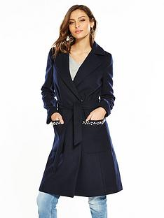 v-by-very-pearl-trim-wrap-coat-navy
