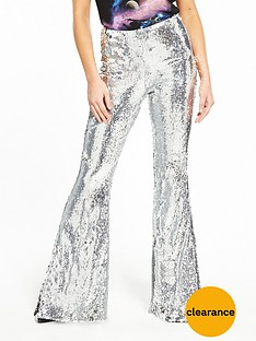 v-by-very-unique-sequin-kick-flare-trousers-ndash-silver