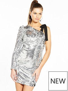 v-by-very-unique-silver-one-sleeve-dress