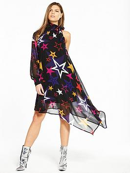 V By Very Unique Unique One Sleeve Asymmetric Star Print Dress