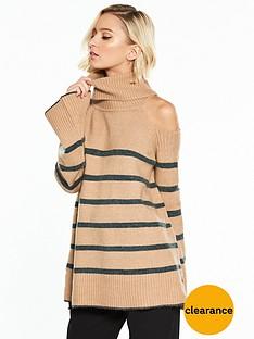 river-island-river-island-stripe-cold-shoulder-jumper--camel
