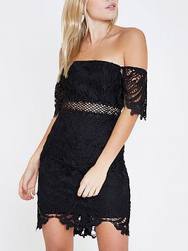 Ri Petite Lace Bardot Mini Dress- Black