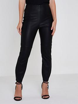 Ri Petite Pu High Rise Trousers- Black