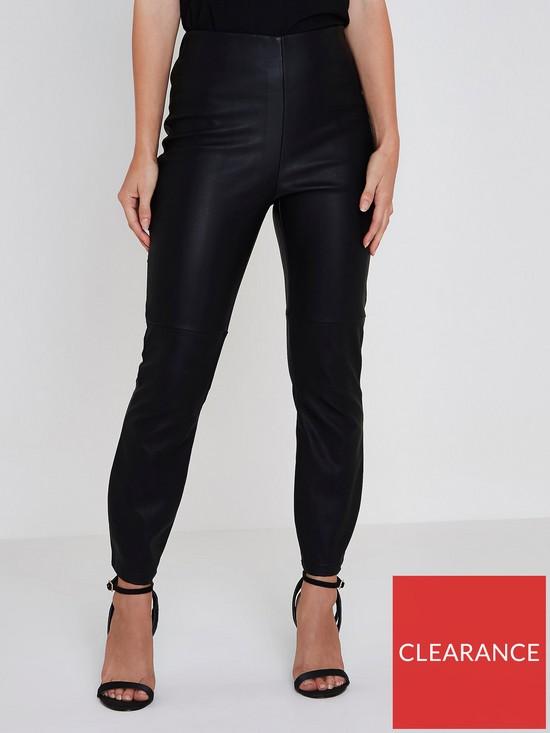 137ca1865a8f8b RI Petite Pu High Rise Trousers- Black | very.co.uk