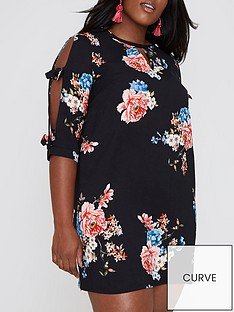 ri-plus-ri-plus-bow-tie-sleeve-floral-dress--black