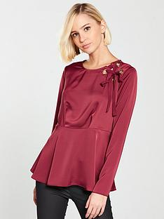 river-island-river-island-waisted-eyelet-blouse--dark-red