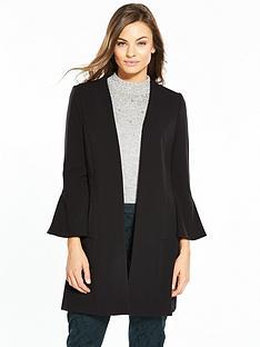 wallis-flute-sleeve-edge-to-edge-crepe-coat-black