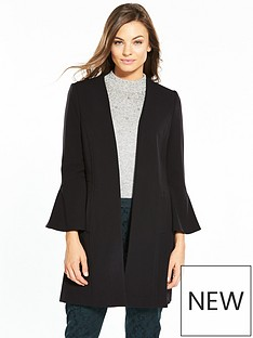 wallis-flute-sleeve-edge-to-edge-crepe-coat-black
