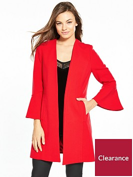 wallis-flute-sleeve-edge-to-edge-crepe-coat-red