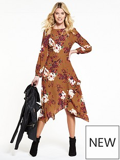 v-by-very-rust-printed-hanky-hem-dress