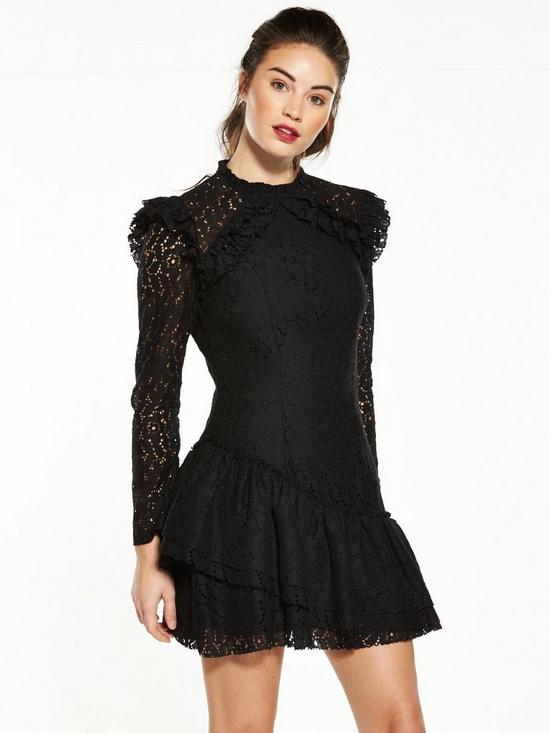 Detalles De Vestido De Encaje V By Asimétrica Volante Negro Very Uk Size 18 Ver Título Original