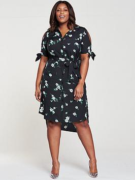 v by very curve cold shoulder midi shirt dress