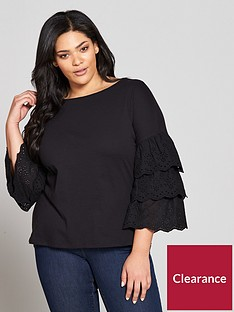 v-by-very-curve-cotton-tiered-sleeve-cross-back-top-black