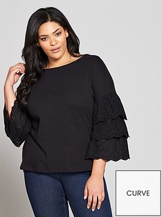 v-by-very-curve-cotton-tiered-sleeve-top-black