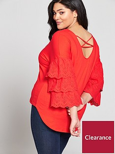 v-by-very-curve-cotton-tiered-sleeve-cross-back-topnbsp--red