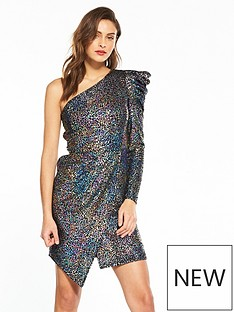 v-by-very-one-sleeve-metallic-dress