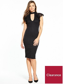 v-by-very-lace-frill-sleeve-chocker-bodycon-dress