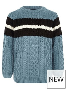 river-island-boys-blue-cable-knit-stripe-jumper