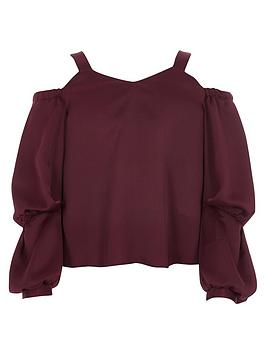 river-island-girls-dark-red-satin-long-puff-sleeve-top