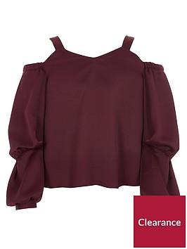 river-island-girls-dark-red-satin-long-puff-sleeve-top