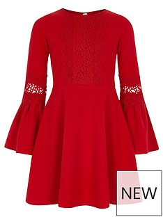 river-island-girls-red-lace-insert-flute-sleeve-dress