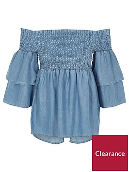 river-island-girls-blue-denim-shirred-bardot-frill-top