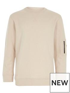 river-island-boys-cream-zip-pocket-sleeve-sweatshirt