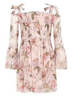 river-island-girls-pink-floral-bell-sleeve-bardot-dress